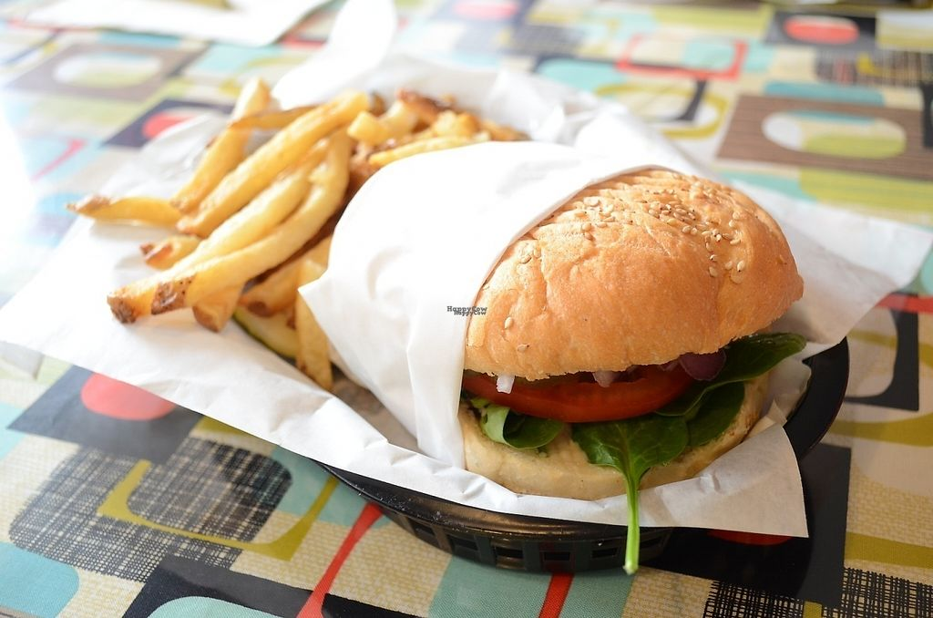 """Photo of Afternoon Deli  by <a href=""""/members/profile/alexandra_vegan"""">alexandra_vegan</a> <br/>Tempeh burger (delicious patty) & fries & pickle <br/> November 11, 2016  - <a href='/contact/abuse/image/43905/188447'>Report</a>"""