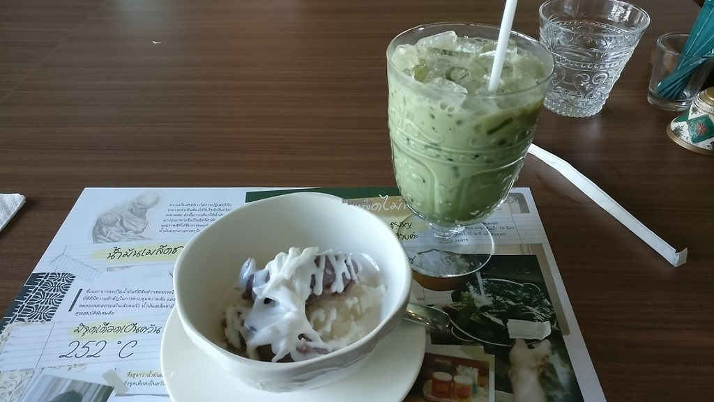 """Photo of CLOSED: J Kitchen  by <a href=""""/members/profile/davidredstone"""">davidredstone</a> <br/>Iced matcha latte and taro sticky rice (warm)  <br/> March 27, 2017  - <a href='/contact/abuse/image/43922/241694'>Report</a>"""