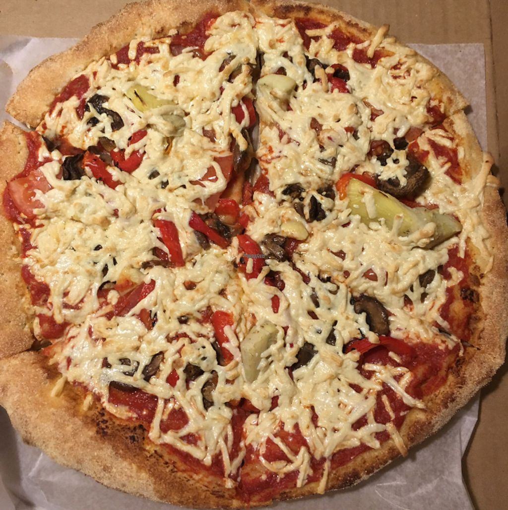 "Photo of The Wild Tomato Pizzeria  by <a href=""/members/profile/nardanddee"">nardanddee</a> <br/>wild veggie pizza (no pesto) with vegan cheese <br/> January 11, 2017  - <a href='/contact/abuse/image/44033/210589'>Report</a>"