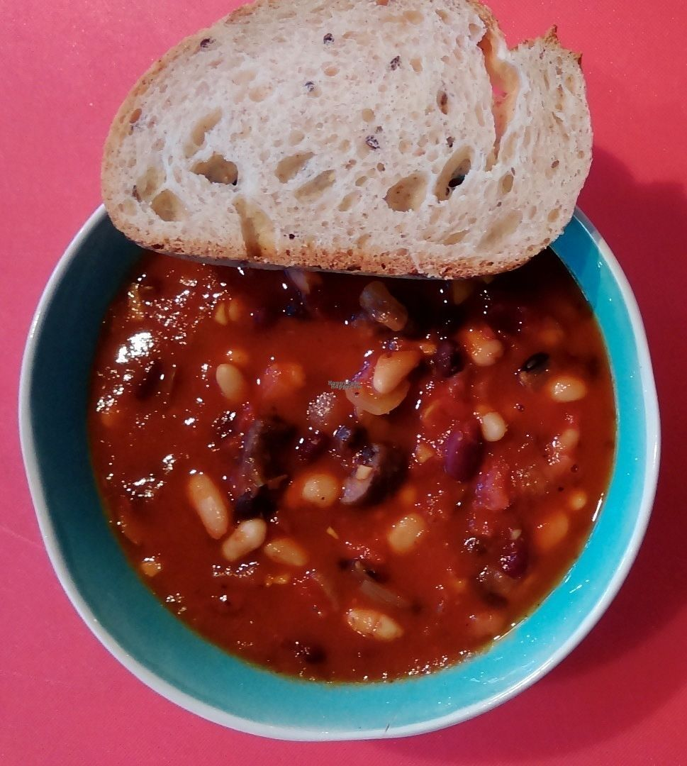 "Photo of Naked Sprout  by <a href=""/members/profile/shandy_rae"">shandy_rae</a> <br/>Vegan In house made Chipotle chili and GF bread.  <br/> September 23, 2016  - <a href='/contact/abuse/image/44036/177511'>Report</a>"