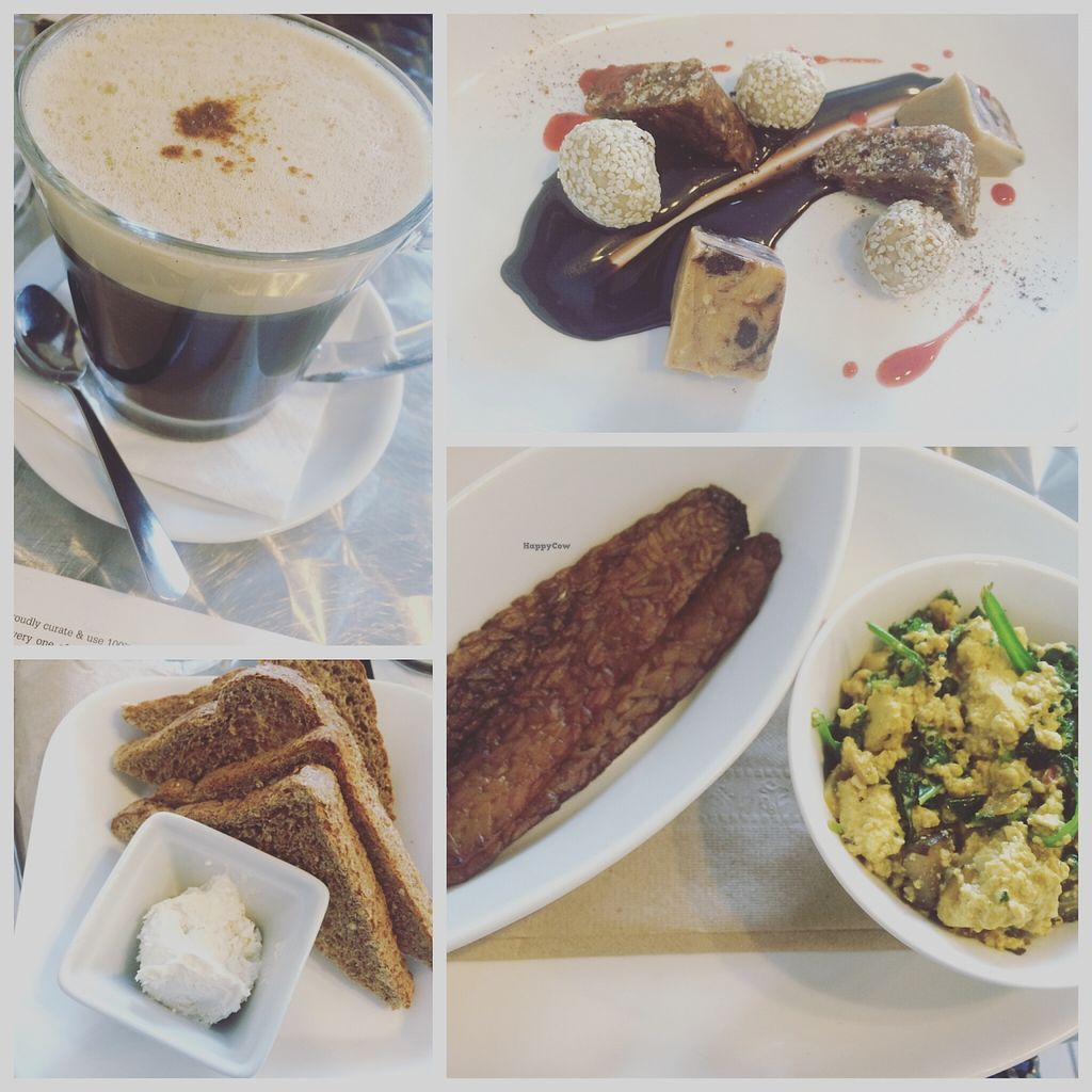 """Photo of CLOSED: Doug McNish Public Kitchen  by <a href=""""/members/profile/JazzyCow"""">JazzyCow</a> <br/>A selection from my first time at the brunch. Hot chicory drink, vegan 'scrambled eggs and bacon' with toast, and the dessert platter (a personal favourite of mine :P) <br/> April 2, 2016  - <a href='/contact/abuse/image/44052/142461'>Report</a>"""