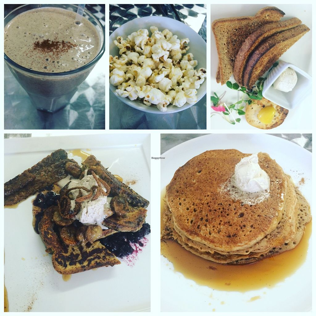 """Photo of CLOSED: Doug McNish Public Kitchen  by <a href=""""/members/profile/JazzyCow"""">JazzyCow</a> <br/>Round two at brunch -- cinnamon toast crunch smoothie, complementary popcorn (seriously amazing), vegan egg (food magic, I swear), French toast, and red fife pancakes (so delicious and homey -- a personal favourite of mine).  <br/> April 2, 2016  - <a href='/contact/abuse/image/44052/142462'>Report</a>"""