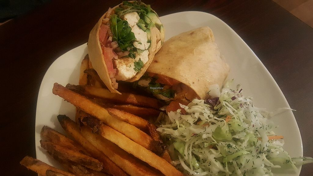 """Photo of Earth Bistro  by <a href=""""/members/profile/Tots"""">Tots</a> <br/>marinated tofu wrap with seasoned fries <br/> March 1, 2018  - <a href='/contact/abuse/image/44103/365463'>Report</a>"""