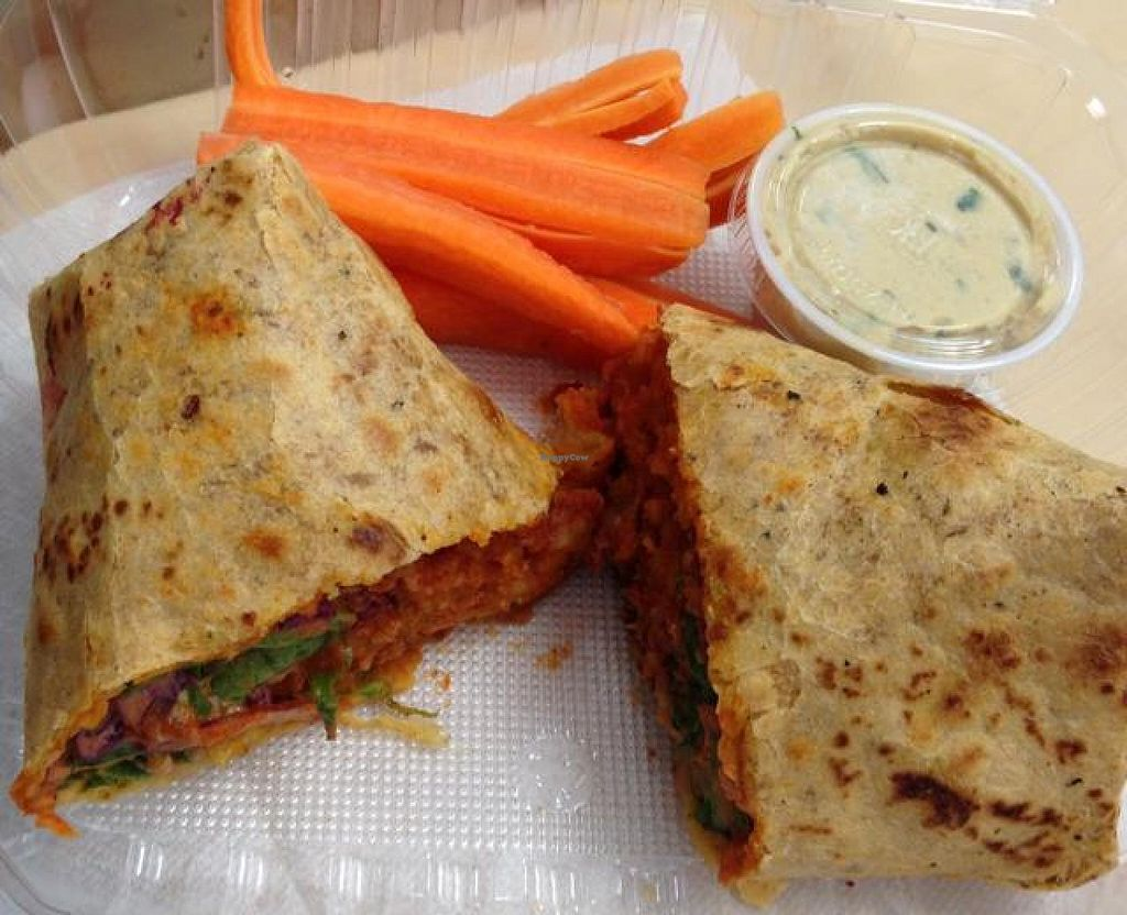 """Photo of 24 Carrots  by <a href=""""/members/profile/Tigra220"""">Tigra220</a> <br/>Buffalo Cauliflower Wrap (delicious!)  <br/> November 4, 2014  - <a href='/contact/abuse/image/44118/84697'>Report</a>"""