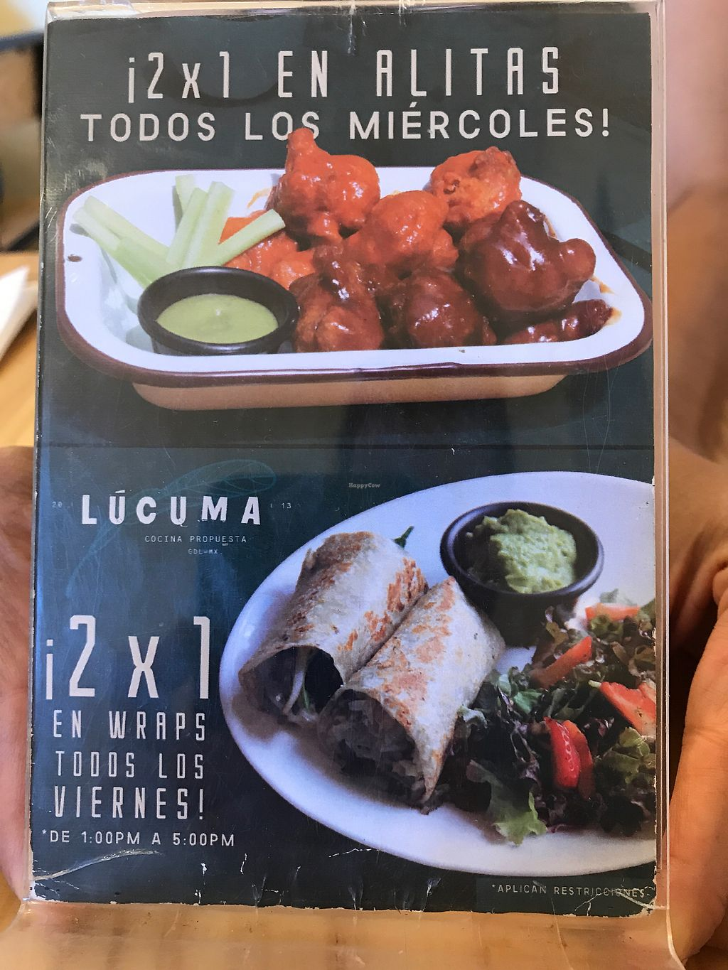 "Photo of Lucuma  by <a href=""/members/profile/GaryBartlett"">GaryBartlett</a> <br/>Specials 2x1 Wings on Wednesday (must go!) 2x1 wraps on Fridays 1pm to 5pm <br/> April 8, 2018  - <a href='/contact/abuse/image/44126/382674'>Report</a>"