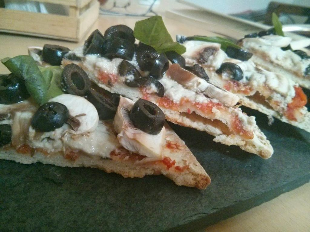 "Photo of Lucuma  by <a href=""/members/profile/aprocopio"">aprocopio</a> <br/>Pizza with macadamia cheese, olives, basil, and mushrooms <br/> December 28, 2013  - <a href='/contact/abuse/image/44126/61144'>Report</a>"
