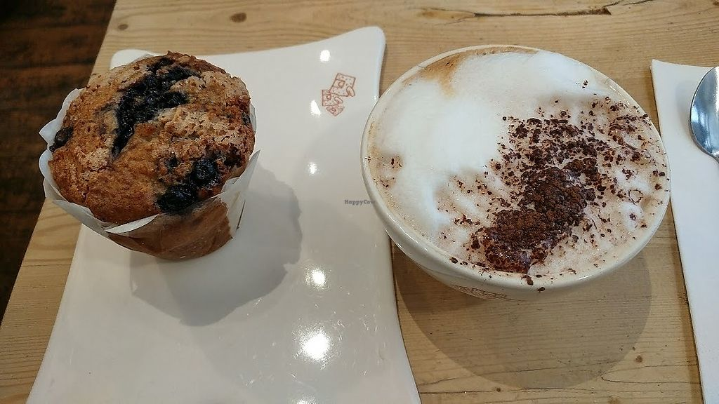 """Photo of Le Pain Quotidien - Varenne  by <a href=""""/members/profile/SaraMarkic"""">SaraMarkic</a> <br/>soy cappuccino and blueberry muffin <br/> December 5, 2017  - <a href='/contact/abuse/image/44132/332608'>Report</a>"""
