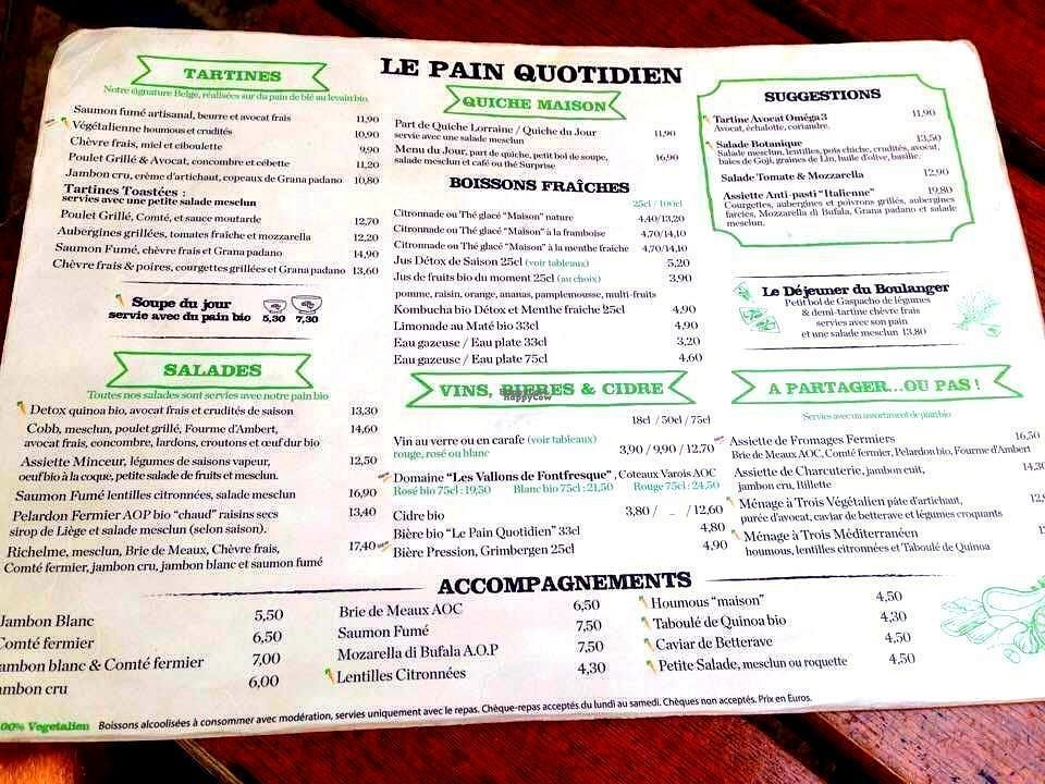 """Photo of Le Pain Quotidien  by <a href=""""/members/profile/Kyttiara"""">Kyttiara</a> <br/>food and drinks menu <br/> September 21, 2016  - <a href='/contact/abuse/image/44140/177119'>Report</a>"""