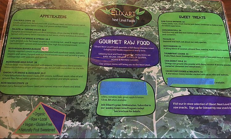 """Photo of Elixart  by <a href=""""/members/profile/veganmom"""">veganmom</a> <br/>Raw Foods Menu <br/> October 21, 2017  - <a href='/contact/abuse/image/44145/317367'>Report</a>"""