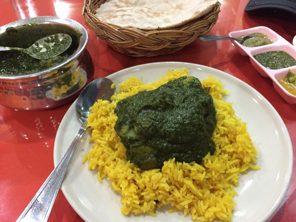 """Photo of S and S Indian Restaurant  by <a href=""""/members/profile/Jrosworld"""">Jrosworld</a> <br/>Saag Aloo (105 baht) with yellow rice (25 baht) <br/> June 9, 2016  - <a href='/contact/abuse/image/44252/153064'>Report</a>"""