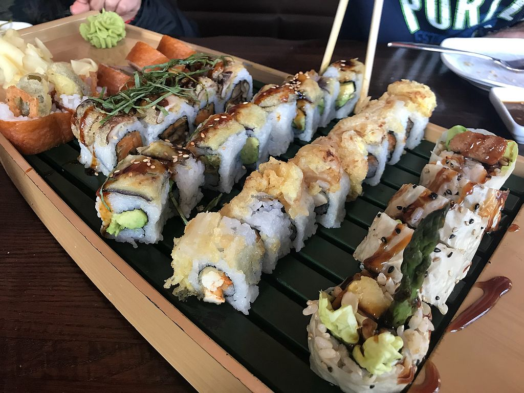 """Photo of Blue Sushi Sake Grill  by <a href=""""/members/profile/Tata"""">Tata</a> <br/>Some of the vegan rolls they have. The shiitake mushroom one was the best! <br/> February 3, 2018  - <a href='/contact/abuse/image/44265/354604'>Report</a>"""