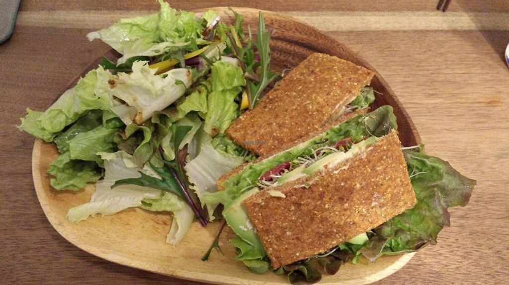 """Photo of Hotto Cafe and Bar  by <a href=""""/members/profile/SpokeyDoke"""">SpokeyDoke</a> <br/>Raw sandwiches made with almond meal bread, 5 stars! <br/> April 6, 2016  - <a href='/contact/abuse/image/44294/143114'>Report</a>"""