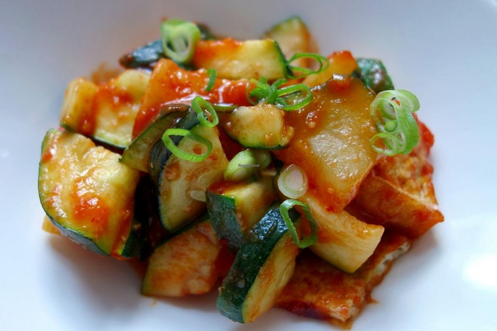 """Photo of Umami  by <a href=""""/members/profile/Gudrun"""">Gudrun</a> <br/>'Spicy Monk' - zucchini with tofu in a spicy tomato sauce (vegan) <br/> December 31, 2013  - <a href='/contact/abuse/image/44305/61338'>Report</a>"""