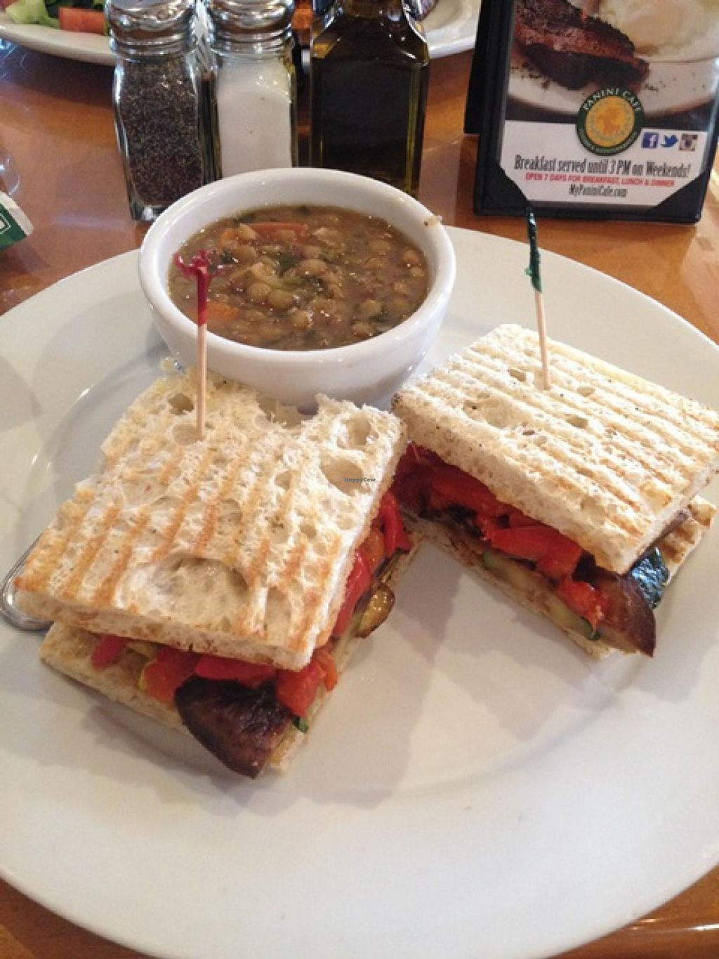 "Photo of Panini Cafe  by <a href=""/members/profile/Dalia23"">Dalia23</a> <br/>Grilled vegetable panini -- no cheese-- with a cup of lentil soup! <br/> December 28, 2013  - <a href='/contact/abuse/image/44307/61167'>Report</a>"