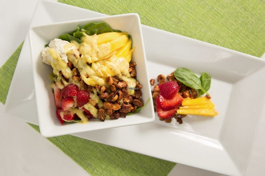 """Photo of Island Naturals Cafe  by <a href=""""/members/profile/IslandNaturalsCafe"""">IslandNaturalsCafe</a> <br/>Strawberry Mango Salad w/ Chia Seed Oil and Vinegar Dressing <br/> August 11, 2016  - <a href='/contact/abuse/image/44322/167698'>Report</a>"""