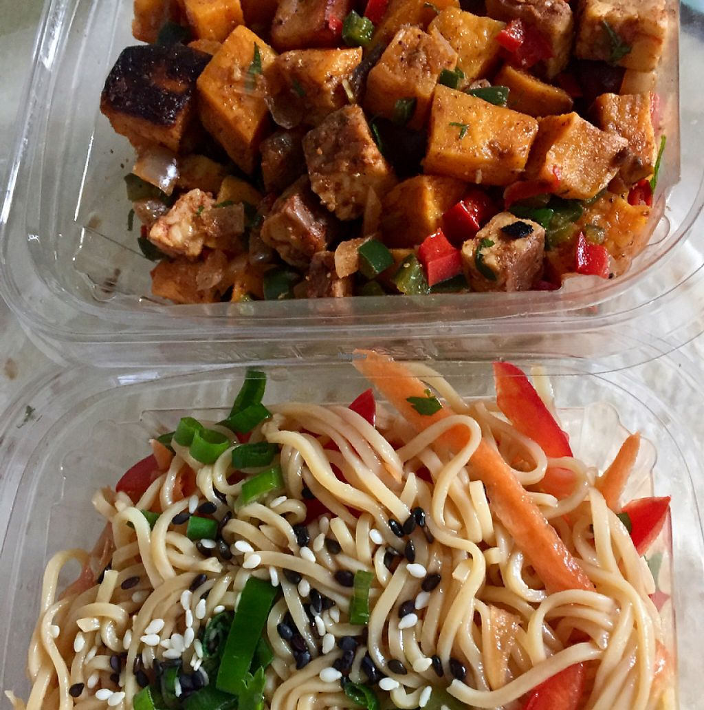 """Photo of Vegan Commissary  by <a href=""""/members/profile/Ksugar6"""">Ksugar6</a> <br/>sesame noodles and tempeh sweet potato hash <br/> April 5, 2017  - <a href='/contact/abuse/image/44323/244841'>Report</a>"""