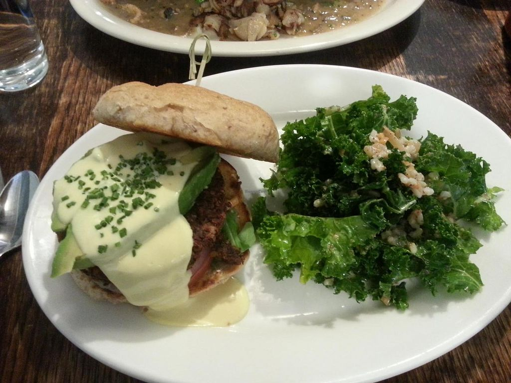 """Photo of Vegan Commissary  by <a href=""""/members/profile/butikiteas"""">butikiteas</a> <br/>Brunch burger!  Best burger ever, so much flaovr!  Avocado & hollandaise sauce included.  Kale salad was very fresh.  <br/> May 18, 2014  - <a href='/contact/abuse/image/44323/70231'>Report</a>"""