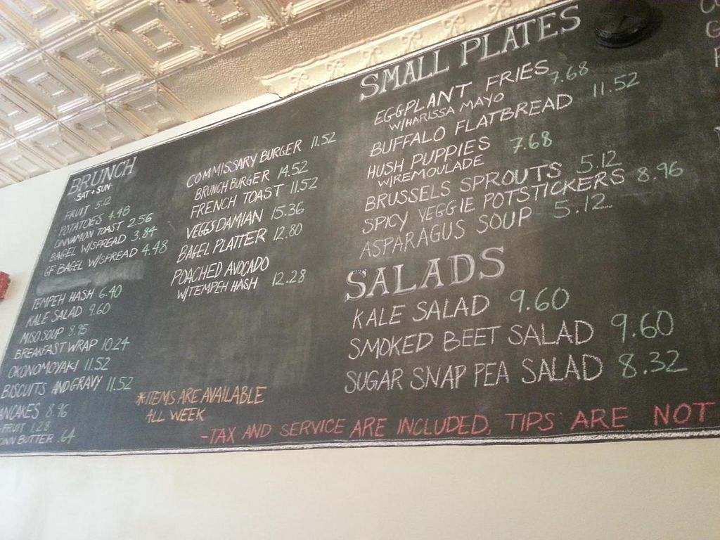 """Photo of Vegan Commissary  by <a href=""""/members/profile/butikiteas"""">butikiteas</a> <br/>This is just half of the board.  It excludes the meals, desserts, and extras.  First half is a good example of what is available for brunch <br/> May 18, 2014  - <a href='/contact/abuse/image/44323/70233'>Report</a>"""