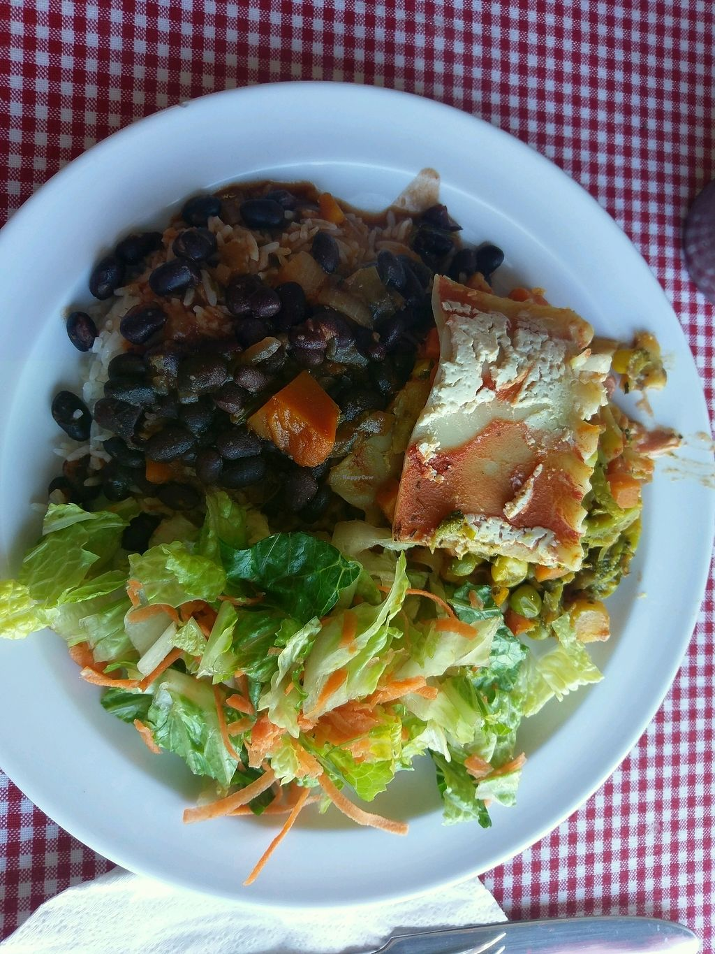 """Photo of Cocobana Restaurante Vegetariano  by <a href=""""/members/profile/ChristineLugo"""">ChristineLugo</a> <br/>vegan vegetable lasagna, rice (?basmati) and black beans <br/> January 10, 2018  - <a href='/contact/abuse/image/44338/345076'>Report</a>"""