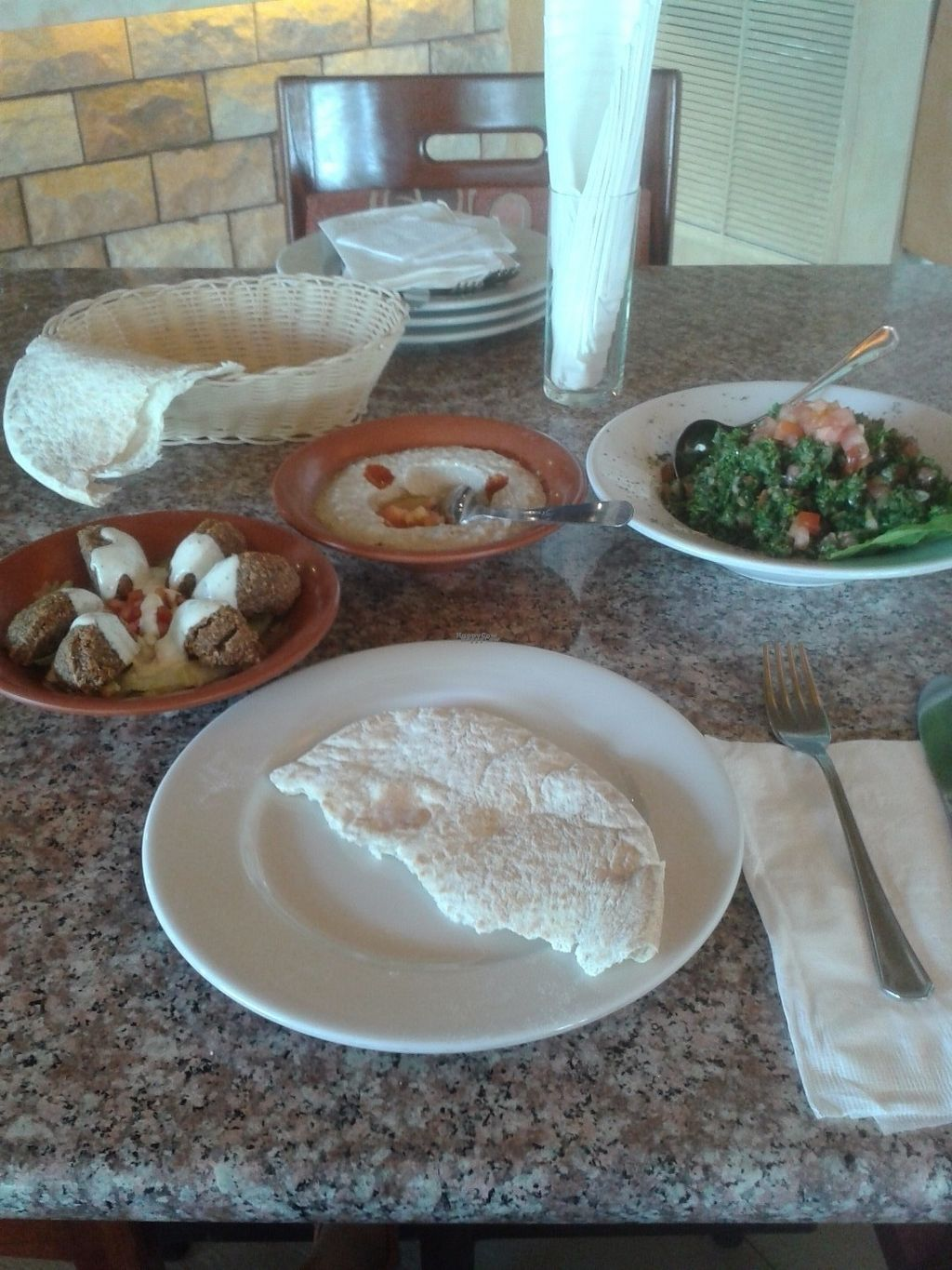 """Photo of Beirut  by <a href=""""/members/profile/Ismarix"""">Ismarix</a> <br/>tabulleh, hummus, kibbeh and pita bread at their Playa Blanca location <br/> October 17, 2016  - <a href='/contact/abuse/image/44419/182594'>Report</a>"""