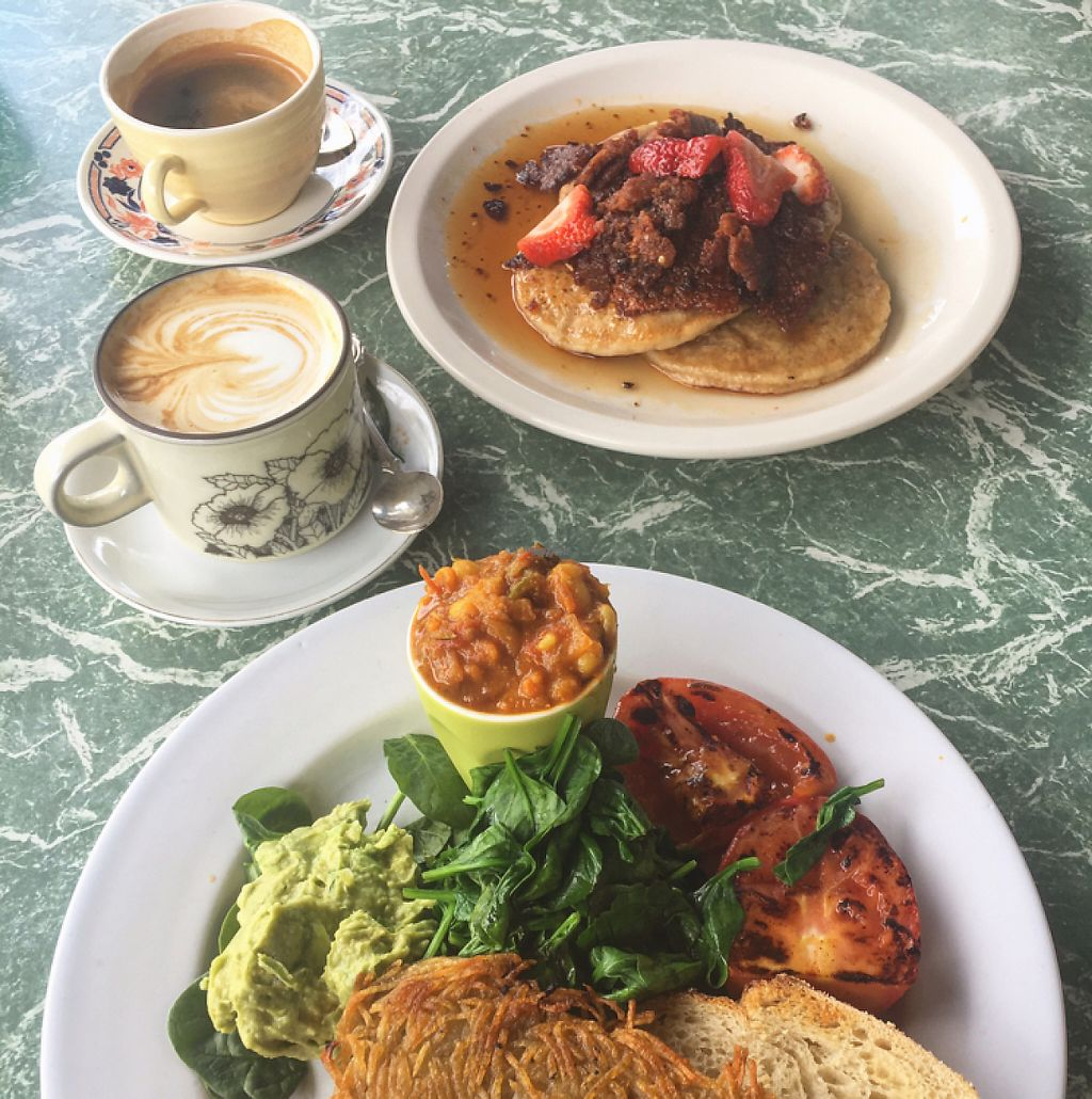 "Photo of Petty Cash Cafe  by <a href=""/members/profile/Necia11"">Necia11</a> <br/>Pancakes with Vegan bacon and big vegan breakfast <br/> April 23, 2017  - <a href='/contact/abuse/image/44452/251417'>Report</a>"