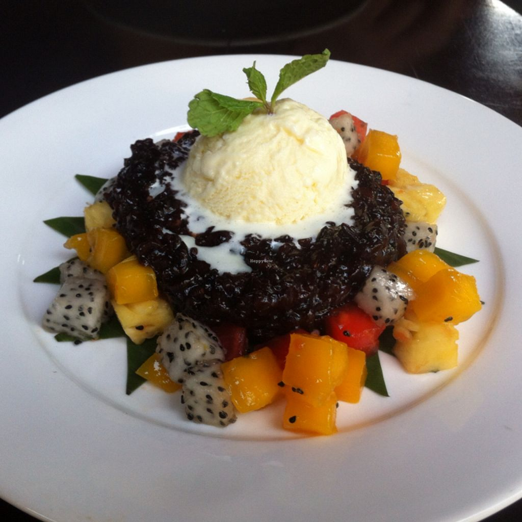 """Photo of Sandan  by <a href=""""/members/profile/Arvid"""">Arvid</a> <br/>Sticky black rice with ginger ice cream and fresh fruit ($4,50) <br/> February 3, 2016  - <a href='/contact/abuse/image/44453/134803'>Report</a>"""