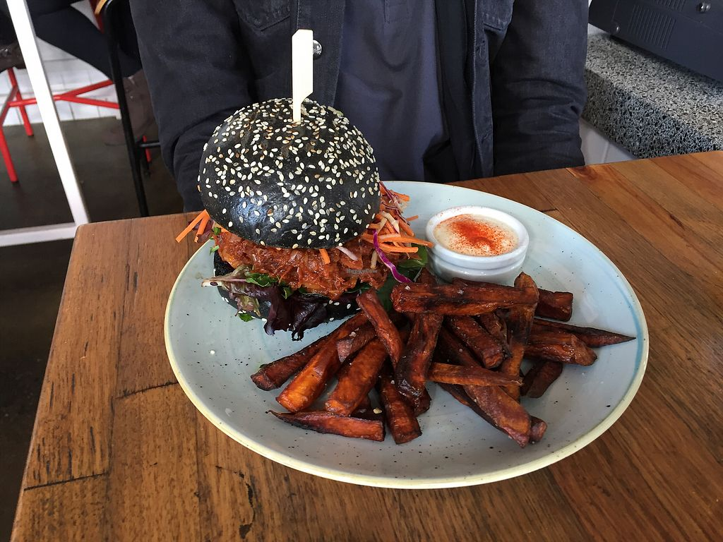 "Photo of Sister of Soul  by <a href=""/members/profile/Wuji_Luiji"">Wuji_Luiji</a> <br/>Jack Black Burger (vegan jackfruit burger) with sweet potato fries <br/> August 5, 2017  - <a href='/contact/abuse/image/44467/288903'>Report</a>"