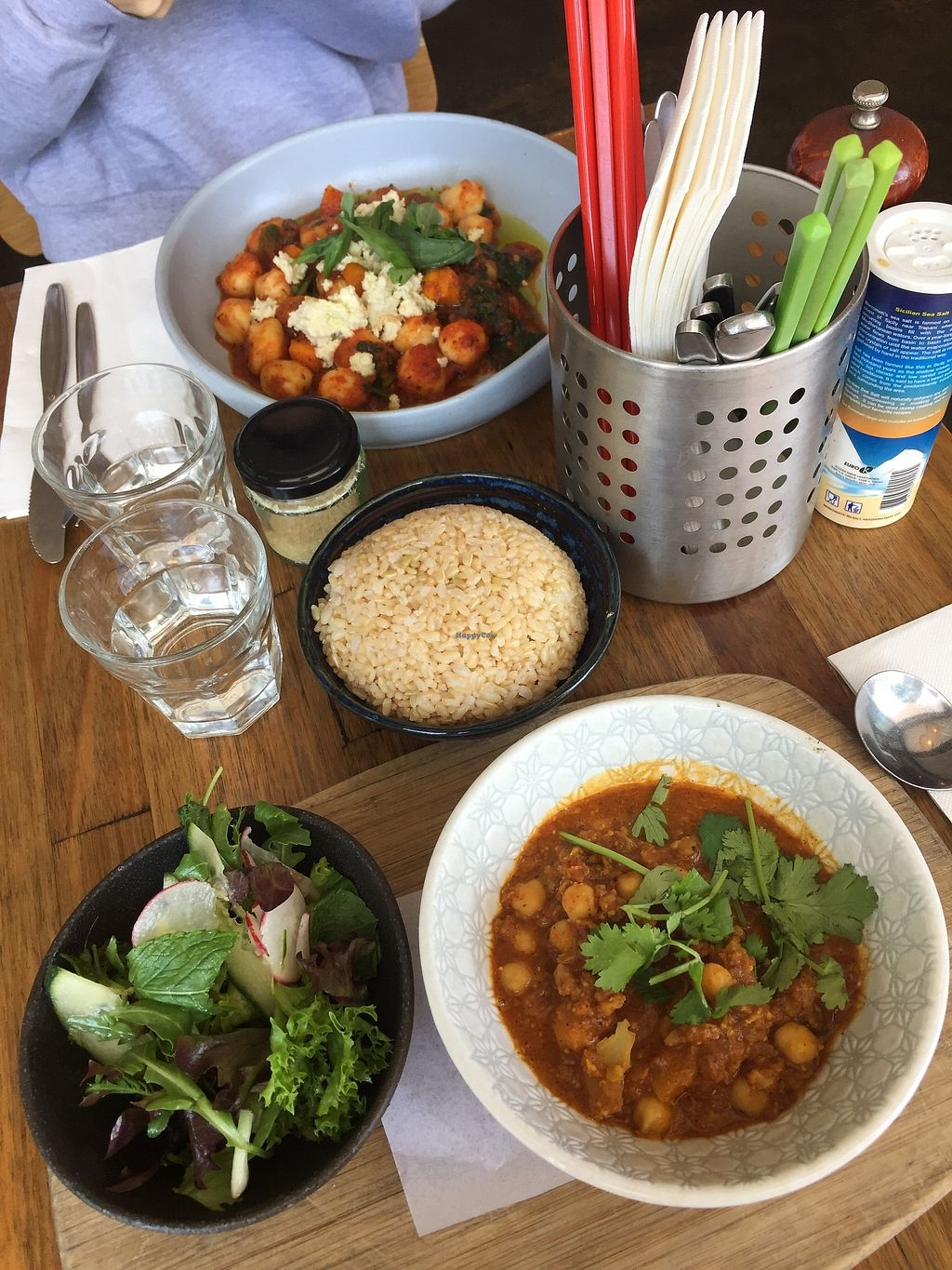 "Photo of Sister of Soul  by <a href=""/members/profile/jessbaik"">jessbaik</a> <br/>Chickpea curry with a side of brown rice & vegan gnocchi with sweet potato, napoli & vegan almond ""feta"" <br/> December 29, 2017  - <a href='/contact/abuse/image/44467/340409'>Report</a>"