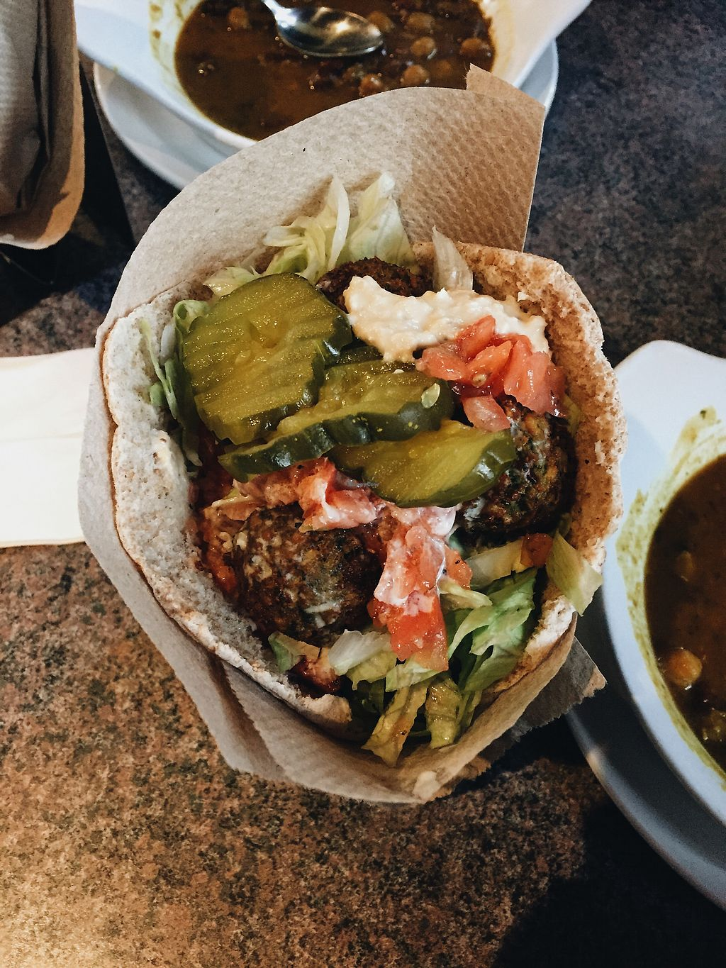 """Photo of Deserts  by <a href=""""/members/profile/Brittanyfm"""">Brittanyfm</a> <br/>Falafel pita <br/> December 4, 2017  - <a href='/contact/abuse/image/4450/332324'>Report</a>"""