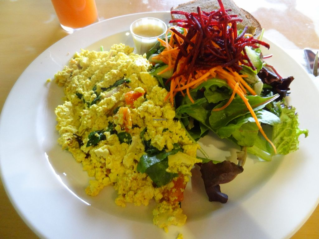 """Photo of Sejuiced  by <a href=""""/members/profile/vegancookbookaddict"""">vegancookbookaddict</a> <br/>One of my favourite tofu scrambles in Vancouver.  Very fresh, not too dry like some others I have tried.  Loved the salad dressing as well <br/> August 18, 2015  - <a href='/contact/abuse/image/4451/114152'>Report</a>"""