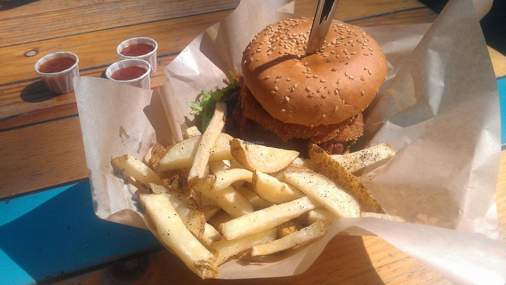 """Photo of Veggie Smalls  by <a href=""""/members/profile/kenvegan"""">kenvegan</a> <br/>chili burger at Veggie Smalls in Tijuana, Mexico <br/> March 15, 2014  - <a href='/contact/abuse/image/44529/65974'>Report</a>"""