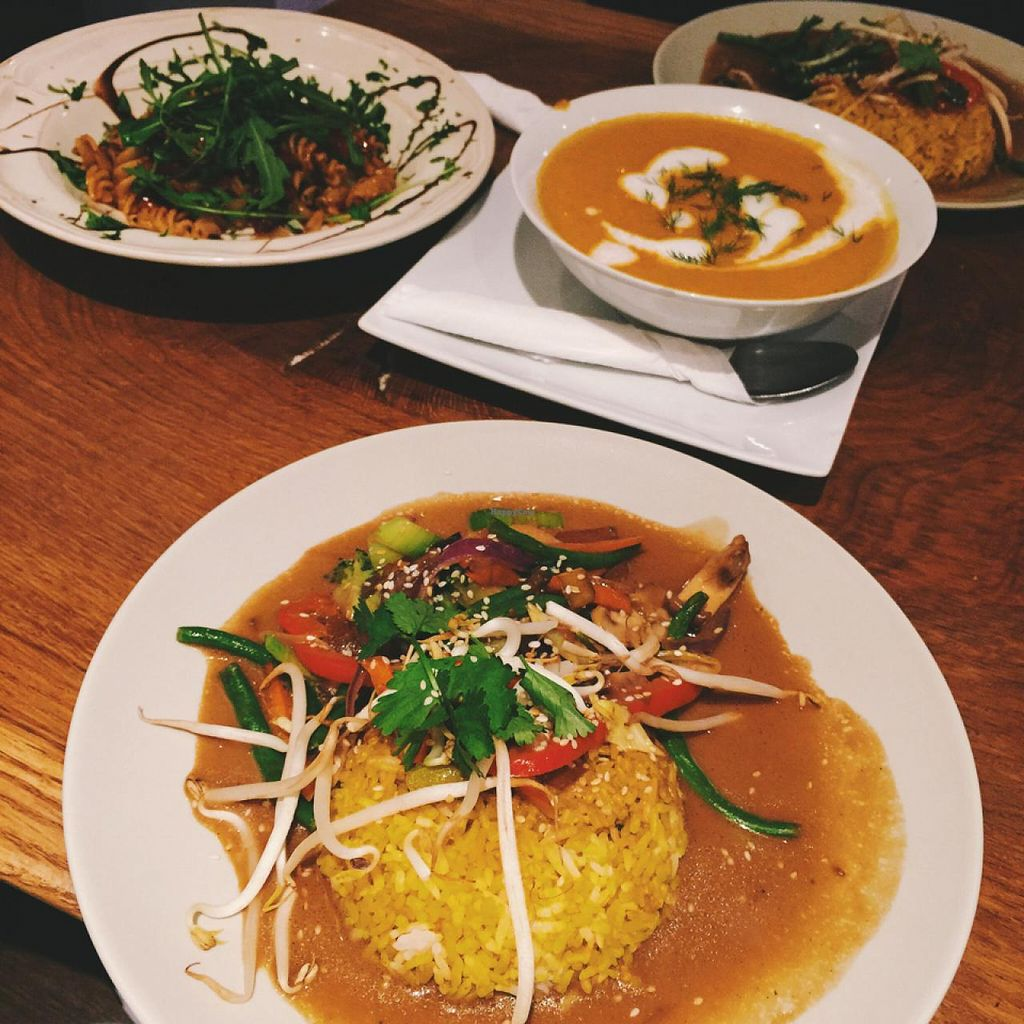 """Photo of Vengo Die Gemusekuche  by <a href=""""/members/profile/bisousb"""">bisousb</a> <br/>Main entrees: Pasta with Sage, sundried tomatoes, olives and arugula, Asian vegetables in curry sauce with turmeric rice and carrot soup with coconut milk <br/> January 12, 2015  - <a href='/contact/abuse/image/44543/90204'>Report</a>"""