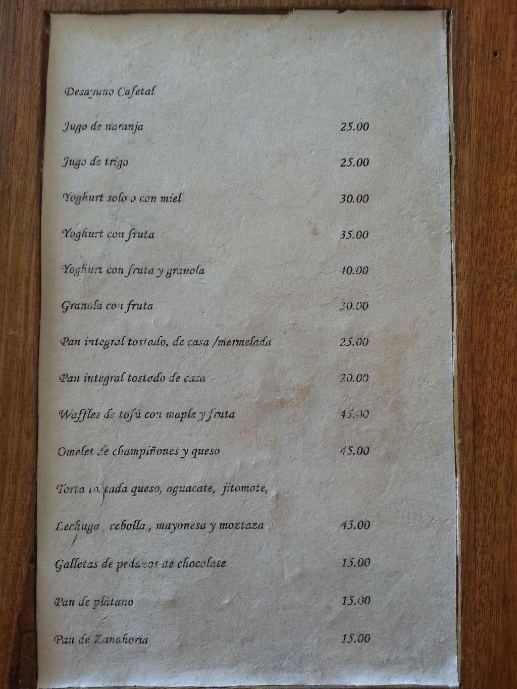 """Photo of CLOSED: El Cafetal  by <a href=""""/members/profile/dougdo"""">dougdo</a> <br/>Food menu. The mushroom omelette with avocado was delicious <br/> January 8, 2014  - <a href='/contact/abuse/image/44554/62137'>Report</a>"""