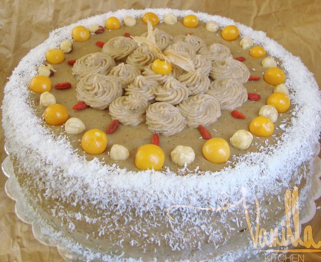 """Photo of Vanilla Kitchen  by <a href=""""/members/profile/Vanillka"""">Vanillka</a> <br/>you can have a bog cake for your birthday, wedding day or another holiday and you can choose the cream and the taste. This one was with banana, tahini, goji berry and hazelnuts <br/> January 8, 2014  - <a href='/contact/abuse/image/44558/235657'>Report</a>"""