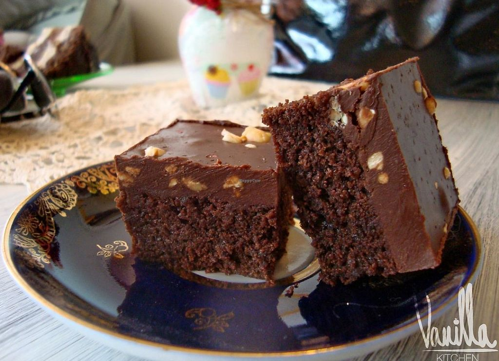 """Photo of Vanilla Kitchen  by <a href=""""/members/profile/Vanillka"""">Vanillka</a> <br/>The ultimate vegan brownie with hazelnuts :) the layer is very juicy and you can feel the rom in it.  The brownie goes well with the raspberry wine served here too <br/> January 8, 2014  - <a href='/contact/abuse/image/44558/235658'>Report</a>"""