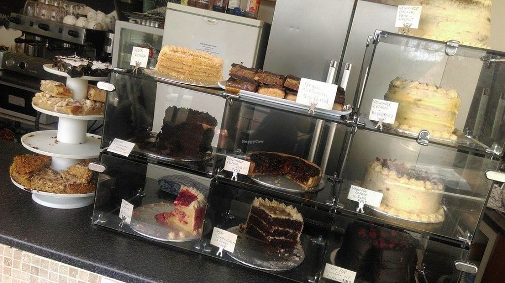 """Photo of Steel City Cakes  by <a href=""""/members/profile/cooking4vegans"""">cooking4vegans</a> <br/>This is half the vegan cake selection... there was a whole other display of vegan cakes too! <br/> March 25, 2016  - <a href='/contact/abuse/image/44574/141315'>Report</a>"""