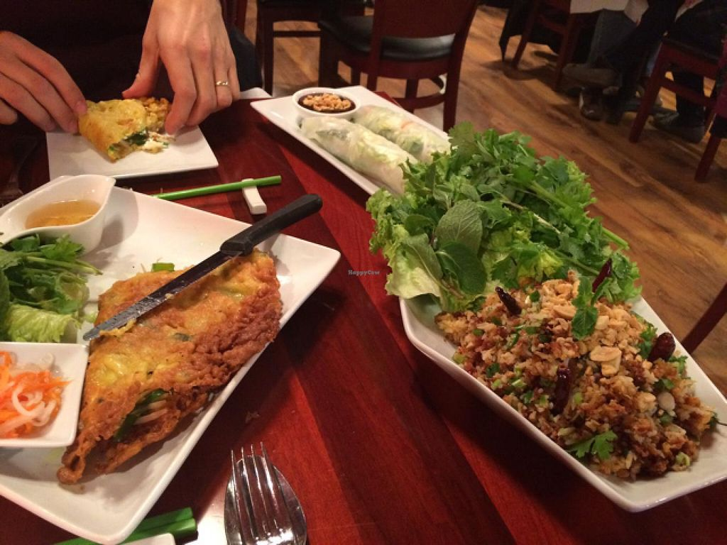 """Photo of Basil Cafe  by <a href=""""/members/profile/tauberl"""">tauberl</a> <br/>vegan crepe, spring rolls, and fried rice app <br/> January 11, 2015  - <a href='/contact/abuse/image/44665/90137'>Report</a>"""