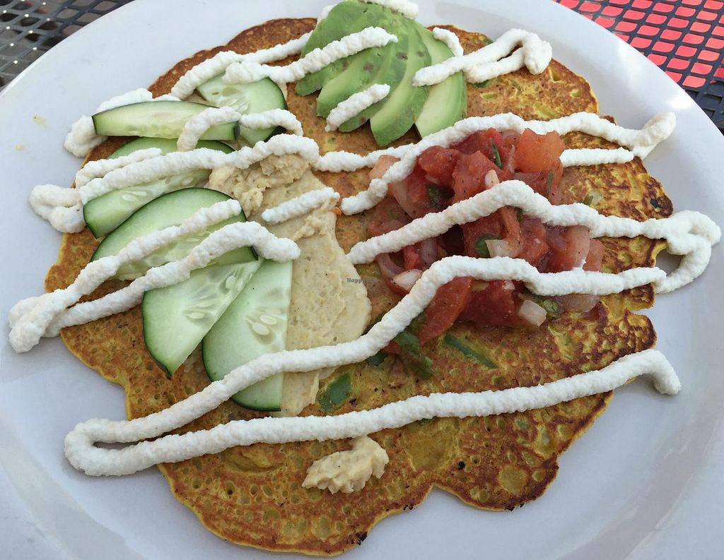 Photo of Riverwest Co-op Cafe  by RamblingVegans <br/>Chickpea Pancake with Cashew Cream <br/> May 3, 2015  - <a href='/contact/abuse/image/4466/101084'>Report</a>