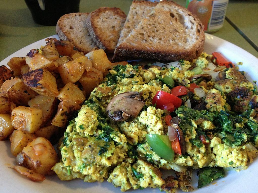 Photo of Riverwest Co-op Cafe  by RamblingVegans <br/>Vegan pesto tofu scramble at Riverwest Co-Op Cafe <br/> February 27, 2014  - <a href='/contact/abuse/image/4466/64911'>Report</a>