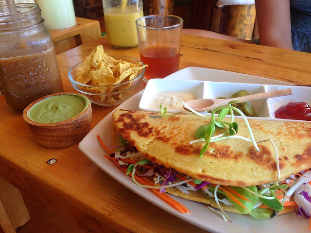 """Photo of Eat Co 2  by <a href=""""/members/profile/kindlife"""">kindlife</a> <br/>tofu scramble in gluten free wrap with a side of pesto <br/> March 16, 2017  - <a href='/contact/abuse/image/44676/237045'>Report</a>"""