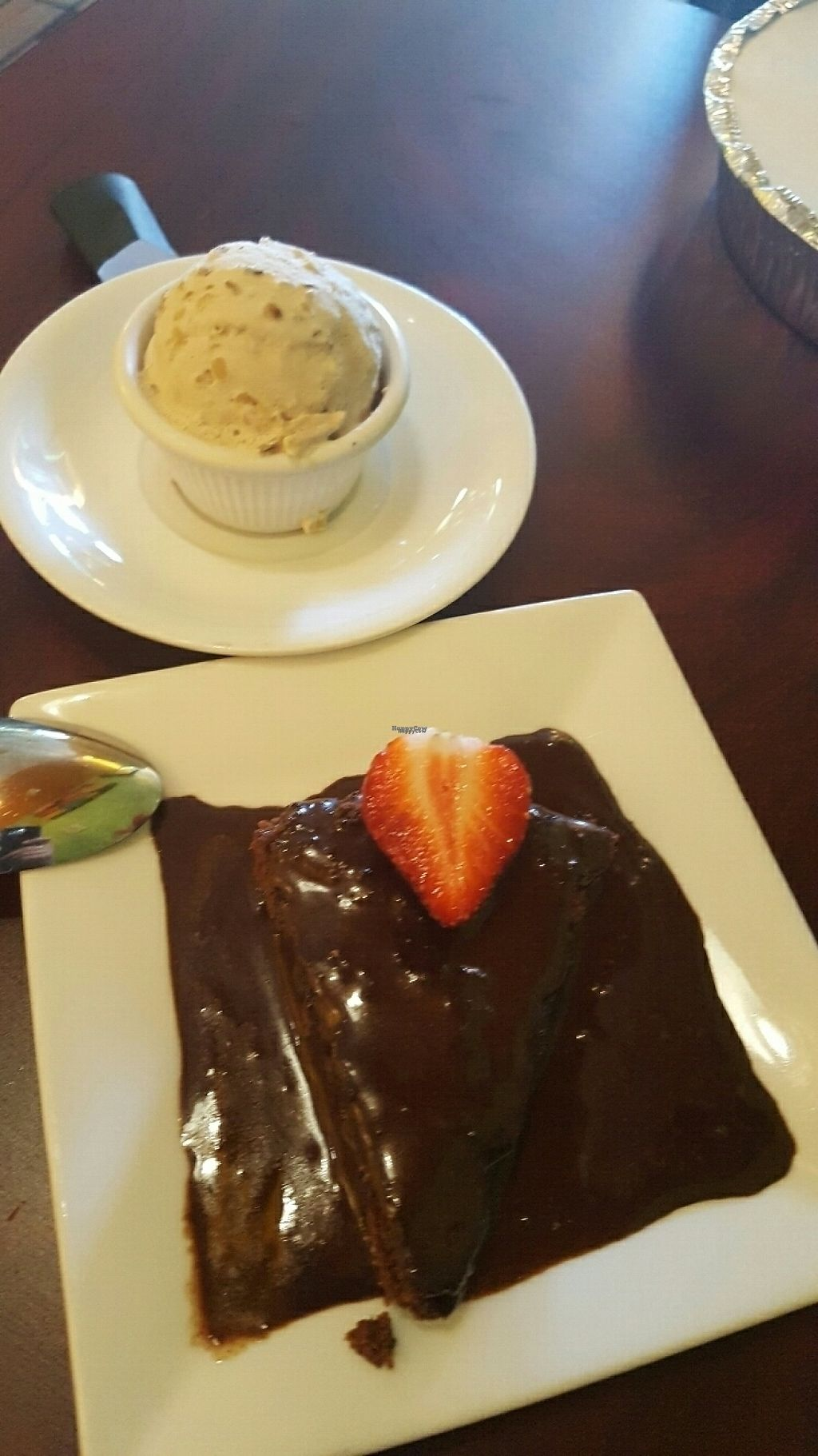 """Photo of Green Leaf  by <a href=""""/members/profile/VeganScientist"""">VeganScientist</a> <br/>Vegan gluten-free chocolate brownie and maple bourbon ice cream <br/> March 15, 2017  - <a href='/contact/abuse/image/44678/236765'>Report</a>"""