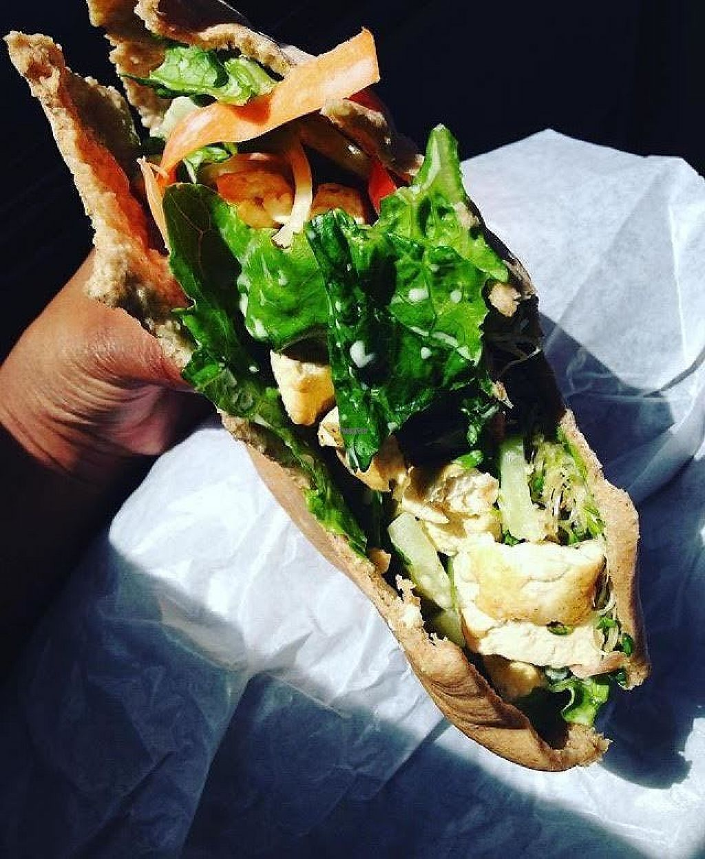 """Photo of Eco Eats  by <a href=""""/members/profile/theveganfattie"""">theveganfattie</a> <br/>Tofu pita wrap <br/> March 29, 2017  - <a href='/contact/abuse/image/44759/242488'>Report</a>"""