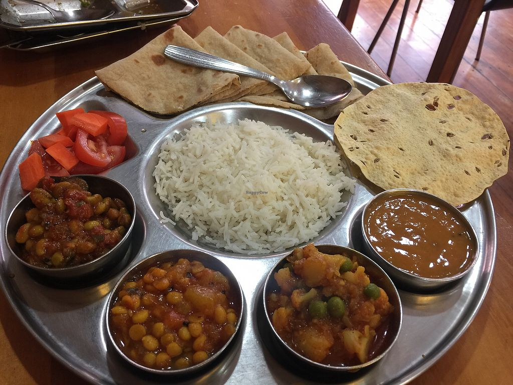 """Photo of Ras Vatika Indian Vegetarian Cafe  by <a href=""""/members/profile/Tiggy"""">Tiggy</a> <br/>Vegan Special Thali - a bit of a mixture  <br/> December 26, 2017  - <a href='/contact/abuse/image/4475/339297'>Report</a>"""