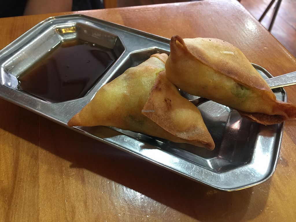 """Photo of Ras Vatika Indian Vegetarian Cafe  by <a href=""""/members/profile/Tiggy"""">Tiggy</a> <br/>Samosas $1.50 - Delicious and cheap <br/> December 26, 2017  - <a href='/contact/abuse/image/4475/339300'>Report</a>"""