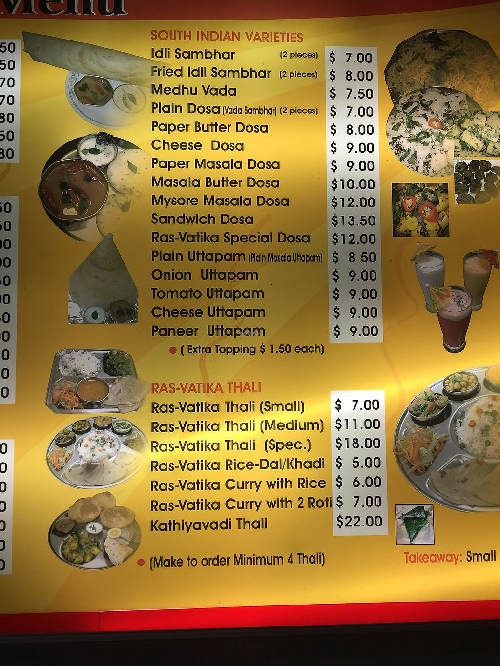 """Photo of Ras Vatika Indian Vegetarian Cafe  by <a href=""""/members/profile/Tiggy"""">Tiggy</a> <br/>Menu 2 <br/> December 27, 2017  - <a href='/contact/abuse/image/4475/339416'>Report</a>"""