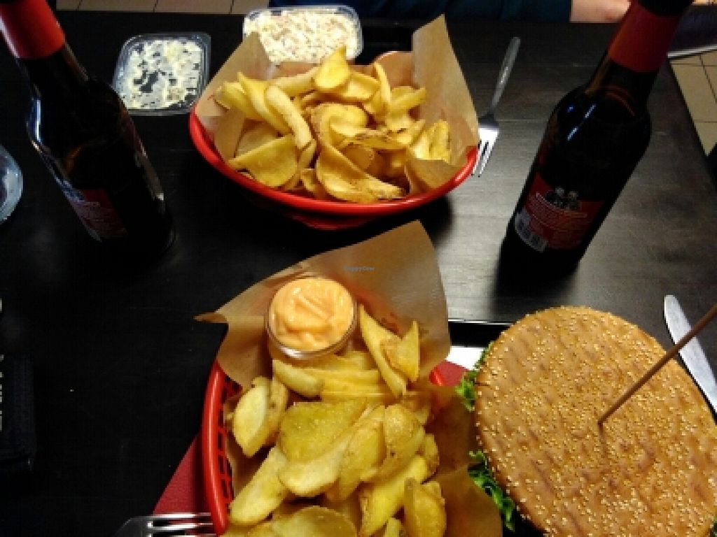 """Photo of Vegangster  by <a href=""""/members/profile/AchimGuldner"""">AchimGuldner</a> <br/>Burger and fries and fleischsalat <br/> March 26, 2016  - <a href='/contact/abuse/image/44795/141406'>Report</a>"""