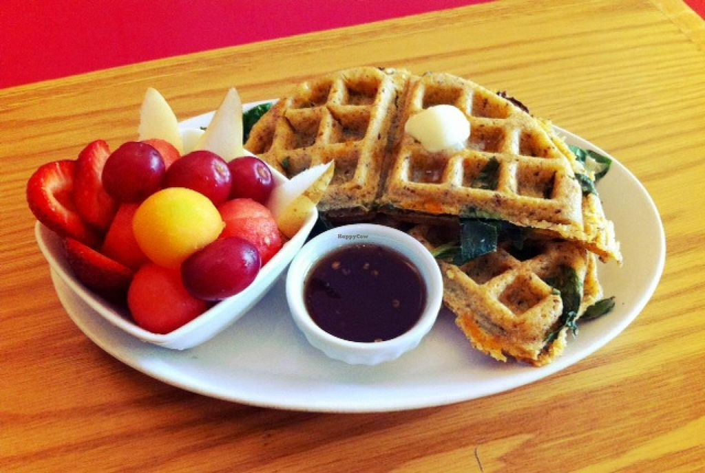 """Photo of CLOSED: The Steady  by <a href=""""/members/profile/thesteady"""">thesteady</a> <br/>Collard Stuffed Waffle - Vegan + Gluten Free <br/> January 19, 2014  - <a href='/contact/abuse/image/44803/62783'>Report</a>"""