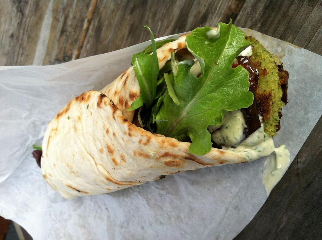 """Photo of Wolf and Bear's Food Cart - SE 28th  by <a href=""""/members/profile/spiffysavannah"""">spiffysavannah</a> <br/>Vegan falafel wrap! <br/> February 20, 2014  - <a href='/contact/abuse/image/44810/64644'>Report</a>"""