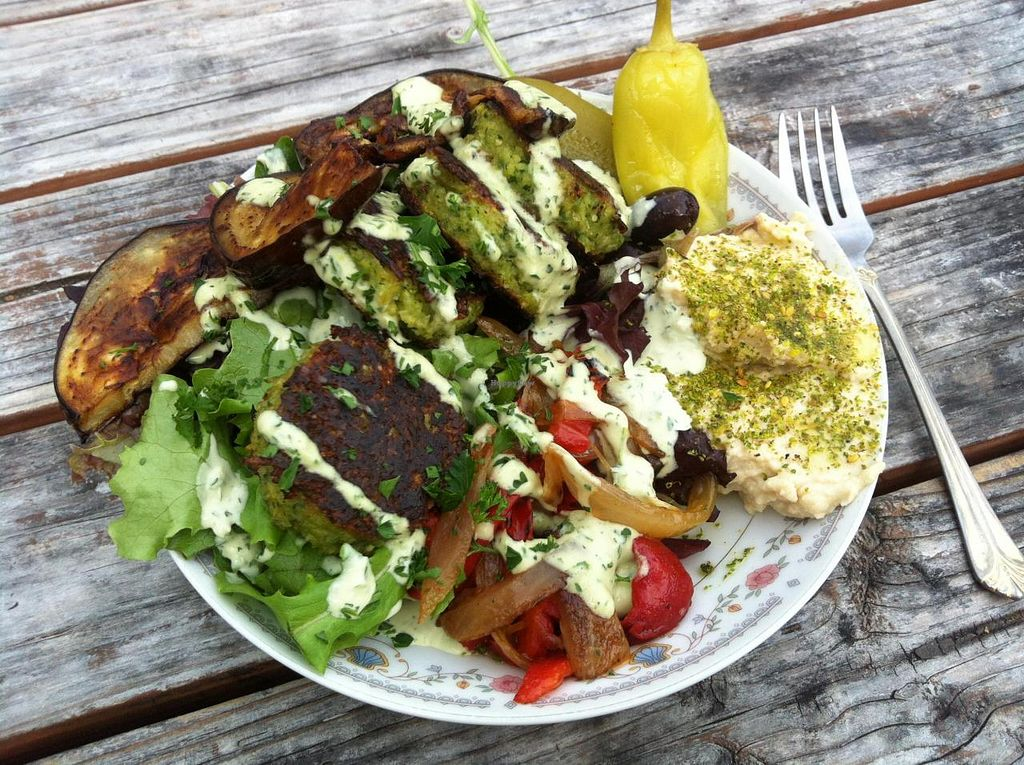 """Photo of Wolf and Bear's Food Cart - SE 28th  by <a href=""""/members/profile/spiffysavannah"""">spiffysavannah</a> <br/>Falafel as a salad- gluten-free! <br/> May 23, 2014  - <a href='/contact/abuse/image/44810/70593'>Report</a>"""