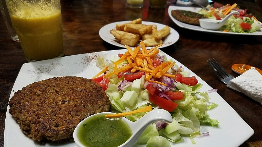 """Photo of Los Sombreros at Eco Venao  by <a href=""""/members/profile/eric"""">eric</a> <br/>vegan burger no bread and side salad with banana passionate smoothie and yucca fries <br/> December 3, 2017  - <a href='/contact/abuse/image/44813/332131'>Report</a>"""